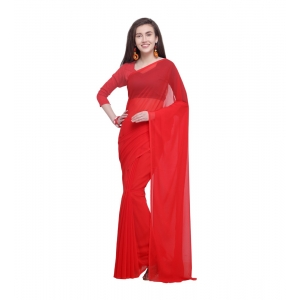 Generic Women's Dyed Saree(Red,5-6 Mtrs)