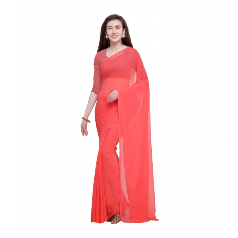 Generic Women's Dyed Saree(Peach,5-6 Mtrs)