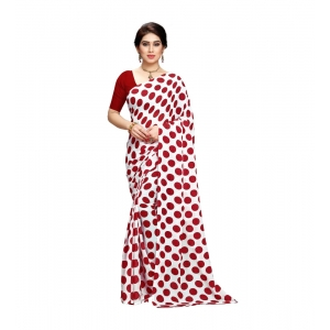 Generic Women's Georgette Saree(W.Red,5-6 Mtrs)