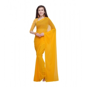 Generic Women's Dyed Saree(Yellow,5-6 Mtrs)