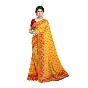 Generic Women's Georgette Saree(Red,5-6 Mtrs)