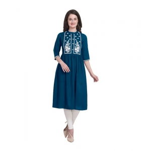 Generic Women's Kurtis With Heavy Rayon Embroidery Work (Color:Blue,Sleeve: 3/4 Sleeve)
