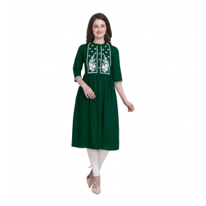 Generic Women's Kurtis With Heavy Rayon Embroidery Work (Color:Green,Sleeve: 3/4 Sleeve)