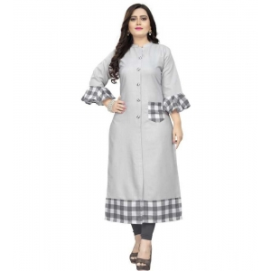 Generic Women's Kurtis With Heavy Slub Cotton Casual (Color:Greay,Sleeve: 3/4 Sleeve)