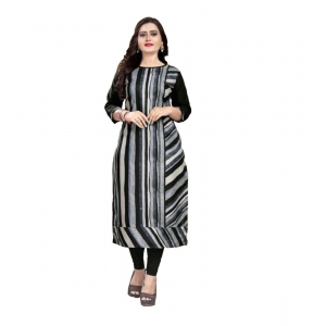 Generic Women's Kurtis With Heavy Slub Cotton Casual (Color:Black,Sleeve: 3/4 Sleeve)