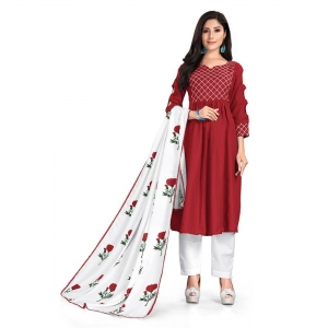 Generic Women's Kurtis With Heavy Cotton Embroidery work ,Pant&Dupatta Set(Color:Red,Sleeve:3/4 Sleeve)