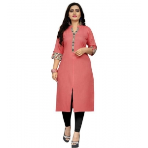 Generic Women's Kurtis With Heavy Slub Cotton Casual (Color:Light coral,Sleeve: 3/4 Sleeve)