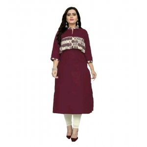 Generic Women's Kurtis With Heavy Slub Cotton Casual (Color:Maroon,Sleeve: 3/4 Sleeve)