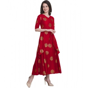 Generic Women's Kurtis With Heavy Rayon Foil Work Long (Color:Red,Sleeve:Lap Over sleeve)