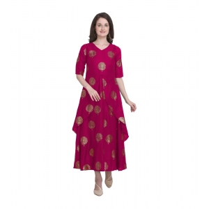 Generic Women's Kurtis With Heavy Rayon Foil Work Long (Color:Dark Pink,Sleeve:Lap Over sleeve)