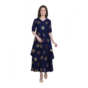 Generic Women's Kurtis With Heavy Rayon Foil Work Long (Color:Neavy Blue,Sleeve:Lap Over sleeve)