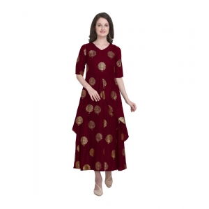 Generic Women's Kurtis With Heavy Rayon Foil Work Long (Color:Maroon,Sleeve:Lap Over sleeve)