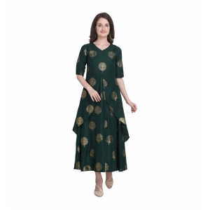 Generic Women's Kurtis With Heavy Rayon Foil Work Long (Color:Dark Green,Sleeve:Lap Over sleeve)