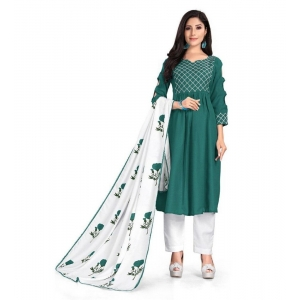 Generic Women's Kurtis With Heavy Cotton Embroidery work ,Pant&Dupatta Set(Color:Green,Sleeve:3/4 Sleeve)