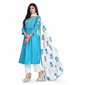 Generic Women's Kurtis With Heavy Cotton Embroidery work ,Pant&Dupatta Set(Color:Light Blue,Sleeve:3/4 Sleeve)