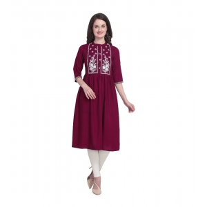 Generic Women's Kurtis With Heavy Rayon Embroidery Work (Color:Maroon,Sleeve: 3/4 Sleeve)