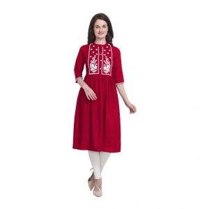 Generic Women's Kurtis With Heavy Rayon Embroidery Work (Color:Red,Sleeve: 3/4 Sleeve)