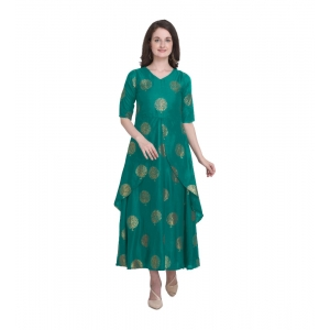 Generic Women's Kurtis With Heavy Rayon Foil Work Long (Color:Light Green,Sleeve:Lap Over sleeve)