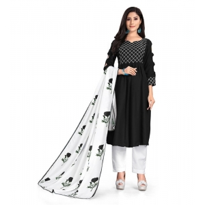 Generic Women's Kurtis With Heavy Cotton Embroidery work ,Pant&Dupatta Set(Color:Black,Sleeve:3/4 Sleeve)