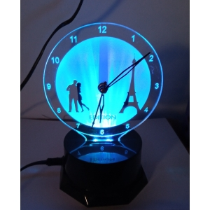Generic Eiffel Tower with Love Couple Clock With Night Lamp