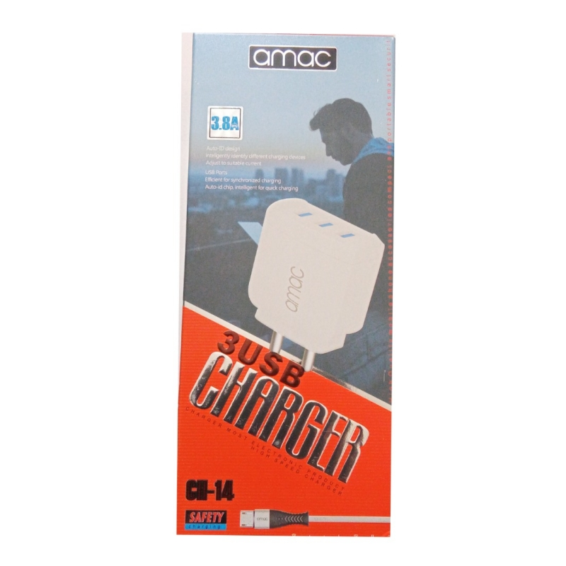 Generic Brand Amac Charger CH-14 3.8 A 3USB-White