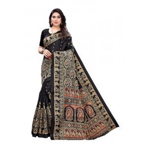 Generic Women's Art Silk Saree(Black,5-6 Mtrs)
