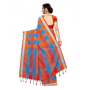 Generic Women's Cotton Blend Saree(Red,5-6 Mtrs)
