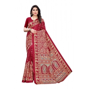 Generic Women's Art Silk Saree(Red,5-6 Mtrs)