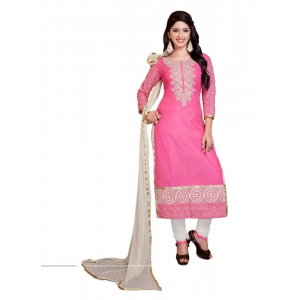 Generic Women's Georgette Salwar Material (Pink & White,2.2 Mtrs)