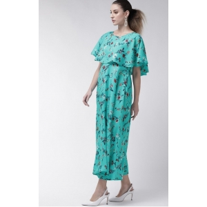Generic Women's Crepe Floral Half Sleeves Full Length Gown(Turquoise)