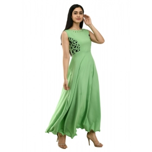 Generic Women's Crepe Solid Sleeveless Full Length Gown(Green)