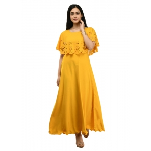 Generic Women's Crepe Solid Sleeveless Full Length Gown(Yellow)