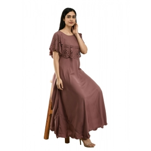 Generic Women's Crepe Solid Sleeveless Full Length Gown(Brown)