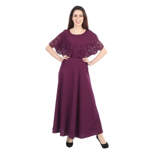 Generic Women's Crepe Solid Sleeveless Full Length Gown(Maroon)