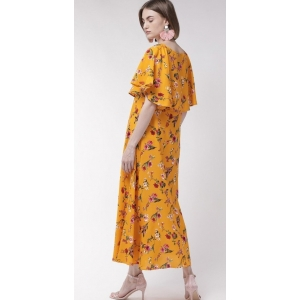 Generic Women's Crepe Floral Half Sleeves Full Length Gown(Yellow)