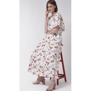 Generic Women's Crepe Floral Half Sleeves Full Length Gown(White)