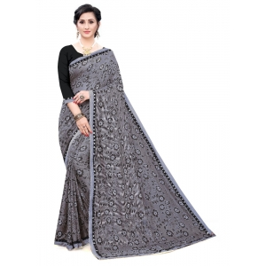 Generic Women's Soft Knitted Saree (Grey,5-6Mtrs)