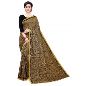 Generic Women's Soft Knitted Saree (Mustard,5-6Mtrs)