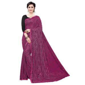 Generic Women's Soft Knitted Saree (Magenta,5-6Mtrs)