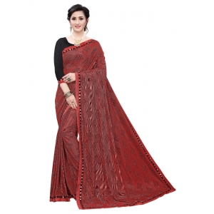 Generic Women's Soft Knitted Saree (Red,5-6Mtrs)