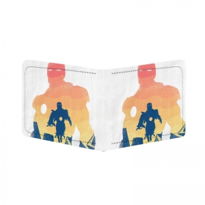 Generic Iron Man Design White Canvas, Artificial Leather Wallet