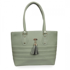 Generic Women's Faux Synthetic Leather Tote Bag (Sea Green)