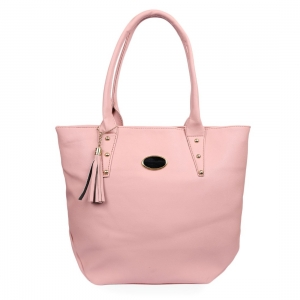 Generic Women's Faux Synthetic Leather Tote Bag (Pink)
