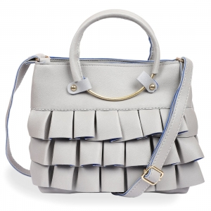 Generic Women's Faux Synthetic Leather Satchel Bag (Grey)