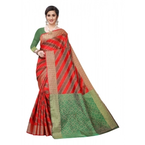 Generic Women's Jacquard Woven Saree(Red  ,5-6Mtrs)