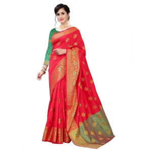 Generic Women's Lychi Silk Saree(Red  ,5-6Mtrs)