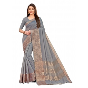Generic Women's Cotton Blend Saree (Greay ,5-6Mtrs)
