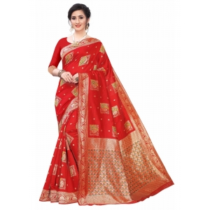 Generic Women's Silk Blend Saree (Red ,5-6Mtrs)
