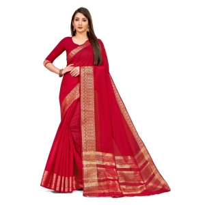 Generic Women's Cotton Blend Saree (Red ,5-6Mtrs)