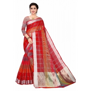 Generic Women's Cotton Blend Sarees (Red , 5-6Mtrs)